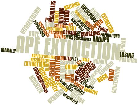 extinction: Abstract word cloud for Ape extinction with related tags and terms Stock Photo