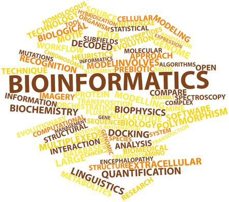 Abstract word cloud for Bioinformatics with related tags and terms Stock Photo - 16498921