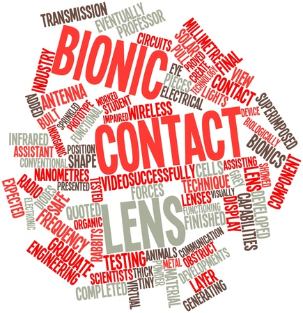 contact lens: Abstract word cloud for Bionic contact lens with related tags and terms