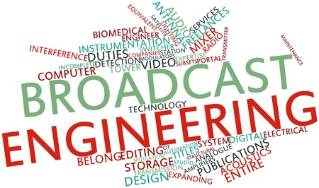 equivalent: Abstract word cloud for Broadcast engineering with related tags and terms