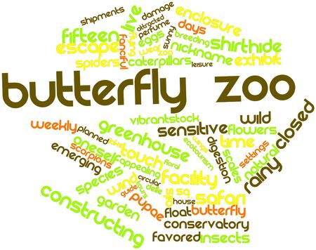weather terms: Abstract word cloud for Butterfly zoo with related tags and terms Stock Photo