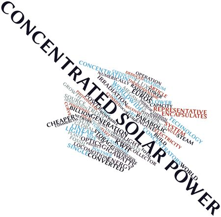 kwh: Abstract word cloud for Concentrated solar power with related tags and terms Stock Photo