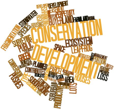 Abstract word cloud for Conservation development with related tags and terms