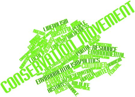 broadened: Abstract word cloud for Conservation movement with related tags and terms