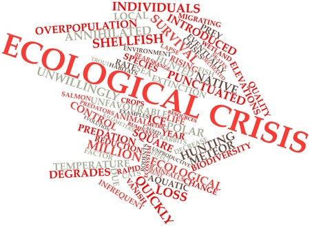 decimated: Abstract word cloud for Ecological crisis with related tags and terms Stock Photo