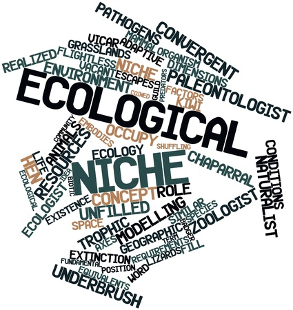 subtly: Abstract word cloud for Ecological niche with related tags and terms Stock Photo