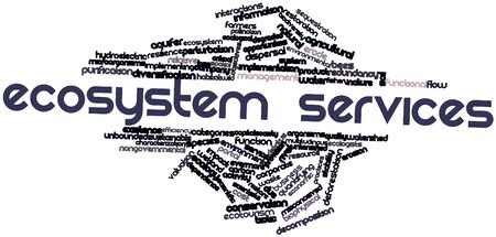sequestration: Abstract word cloud for Ecosystem services with related tags and terms