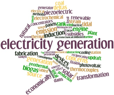 electromechanical: Abstract word cloud for Electricity generation with related tags and terms