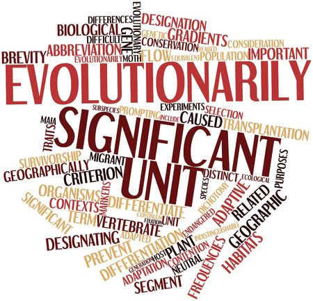 constitutes: Abstract word cloud for Evolutionarily Significant Unit with related tags and terms