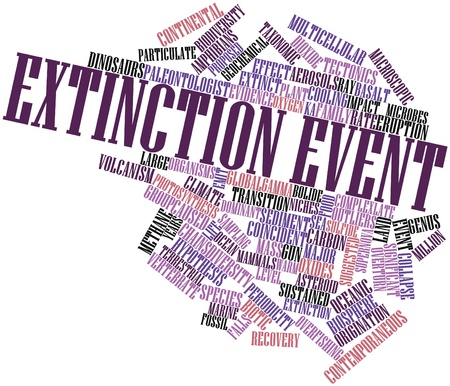 extinction: Abstract word cloud for Extinction event with related tags and terms