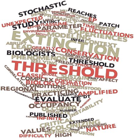 threshold: Abstract word cloud for Extinction threshold with related tags and terms Stock Photo