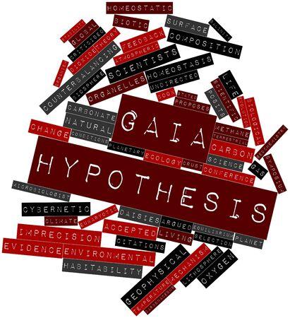 hipotesis: Nube palabra abstracta para la hipótesis Gaia con etiquetas y términos relacionados
