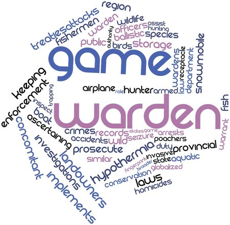 warden: Abstract word cloud for Game warden with related tags and terms
