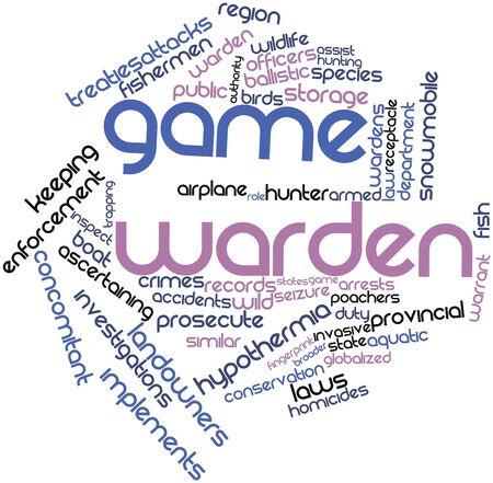 warden: Nube palabra abstracta para guardabosque con etiquetas y t�rminos relacionados