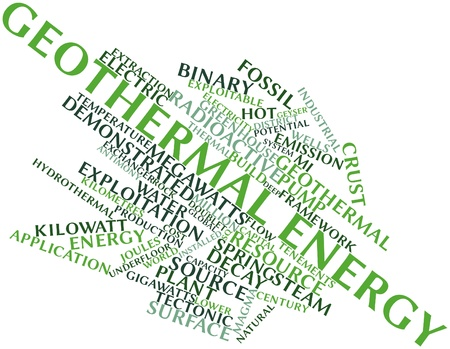 Abstract word cloud for Geothermal energy with related tags and terms photo