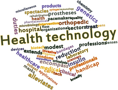 depend: Abstract word cloud for Health technology with related tags and terms