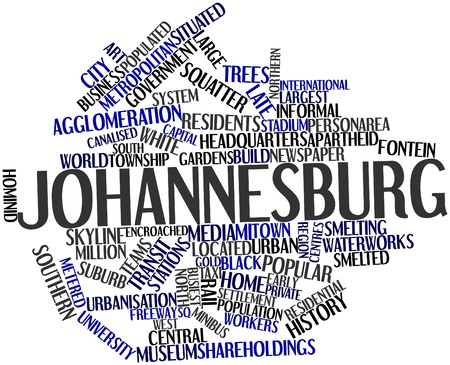 Abstract word cloud for Johannesburg with related tags and terms