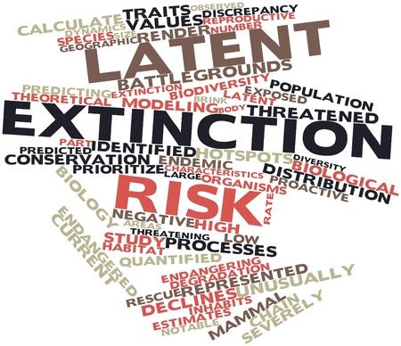 関連するタグと用語の潜在的な絶滅リスクの抽象的な単語雲 写真素材