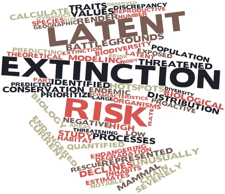 latent: Abstract word cloud for Latent extinction risk with related tags and terms