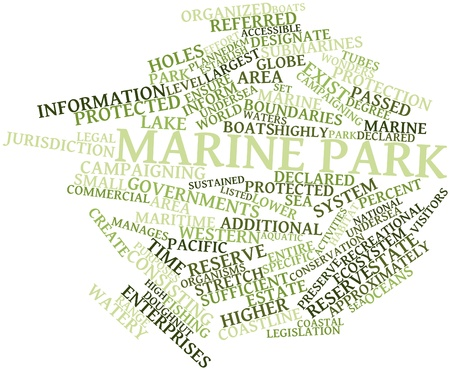 approximately: Abstract word cloud for Marine park with related tags and terms