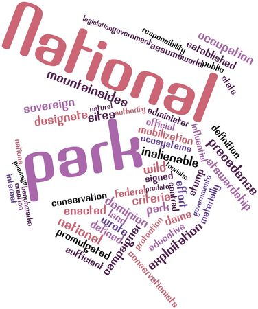 benchmarks: Abstract word cloud for National park with related tags and terms Stock Photo