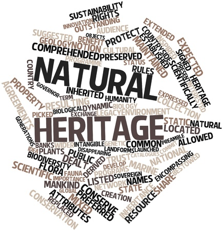 launched: Abstract word cloud for Natural heritage with related tags and terms Stock Photo