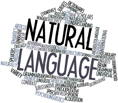 Abstract word cloud for Natural language with related tags and terms Stock Photo - 16498750