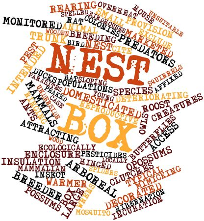 deteriorating: Abstract word cloud for Nest box with related tags and terms Stock Photo