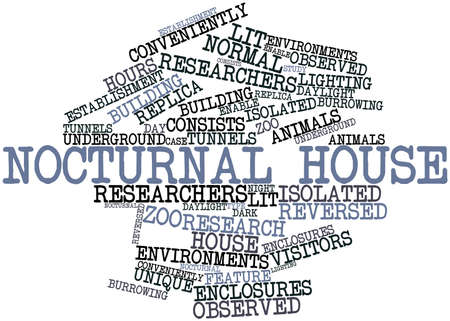 conveniently: Abstract word cloud for Nocturnal house with related tags and terms