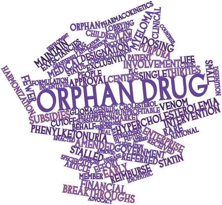 Abstract word cloud for Orphan drug with related tags and terms Stock Photo