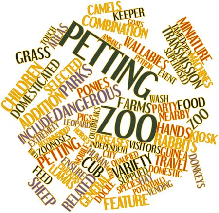 petting zoo: Abstract word cloud for Petting zoo with related tags and terms Stock Photo