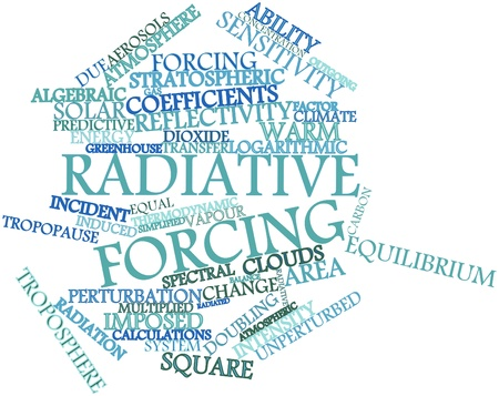 imposed: Abstract word cloud for Radiative forcing with related tags and terms Stock Photo