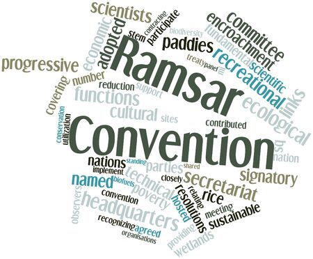 observers: Abstract word cloud for Ramsar Convention with related tags and terms Stock Photo
