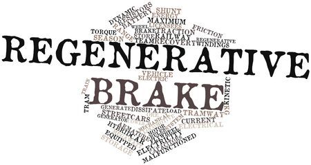 gravitational field: Abstract word cloud for Regenerative brake with related tags and terms Stock Photo
