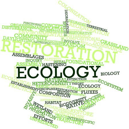 restoration: Abstract word cloud for Restoration ecology with related tags and terms Stock Photo