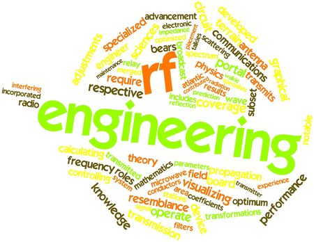 conducted: Abstract word cloud for RF engineering with related tags and terms