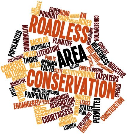 taxpayers: Abstract word cloud for Roadless area conservation with related tags and terms