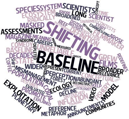 previously: Abstract word cloud for Shifting baseline with related tags and terms Stock Photo