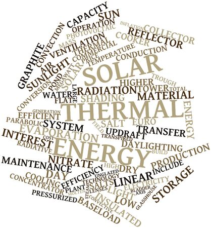 land development: Abstract word cloud for Solar thermal energy with related tags and terms