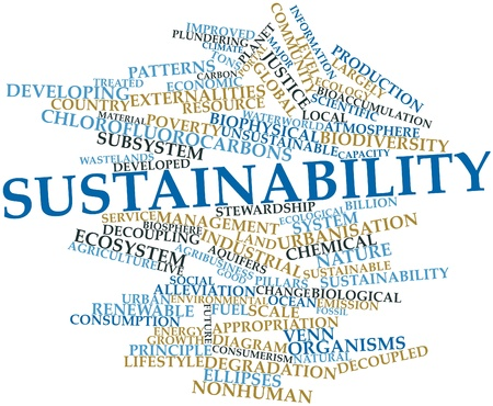 Abstract word cloud for Sustainability with related tags and terms photo
