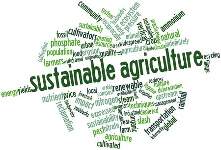 sustainably: Abstract word cloud for Sustainable agriculture with related tags and terms