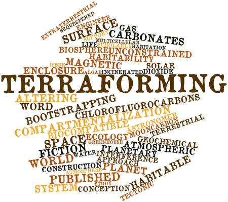 coined: Abstract word cloud for Terraforming with related tags and terms