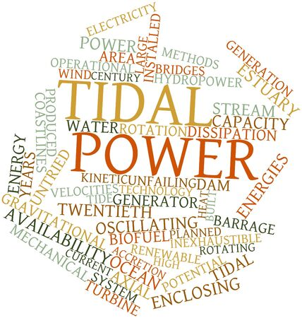 Abstract word cloud for Tidal power with related tags and terms