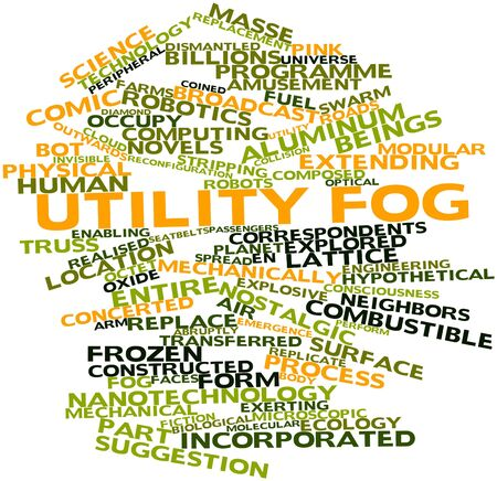 coined: Abstract word cloud for Utility fog with related tags and terms Stock Photo