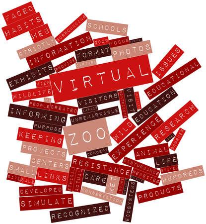 validez: Nube palabra abstracta para zoo virtual con las etiquetas y términos relacionados