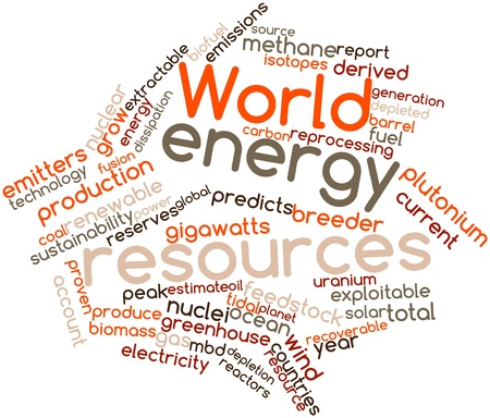 isotopes: Abstract word cloud for World energy resources with related tags and terms