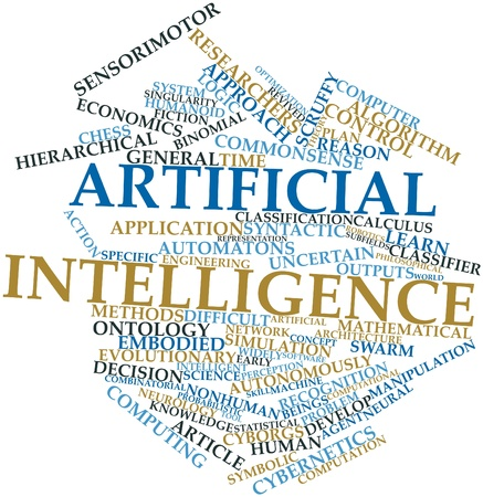 Abstract word cloud for Artificial intelligence with related tags and terms