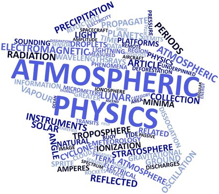 gravitational field: Abstract word cloud for Atmospheric physics with related tags and terms Stock Photo