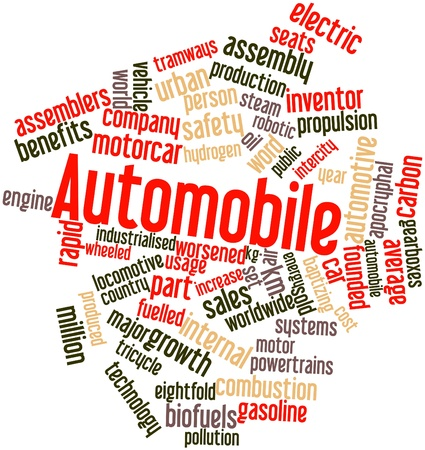 industrialised: Abstract word cloud for Automobile with related tags and terms
