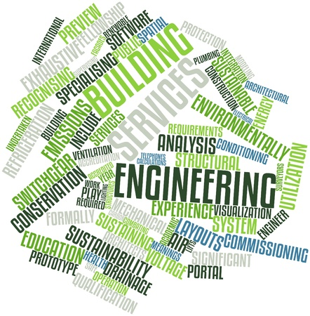 ventilation: Abstract word cloud for Building services engineering with related tags and terms